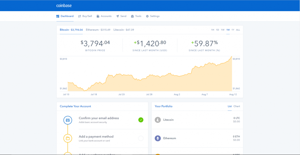 Step 3: Coinbase Dashboard